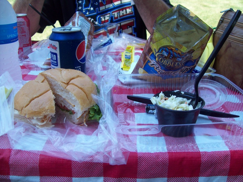 Picnic Table With Food Food on Picnic Table